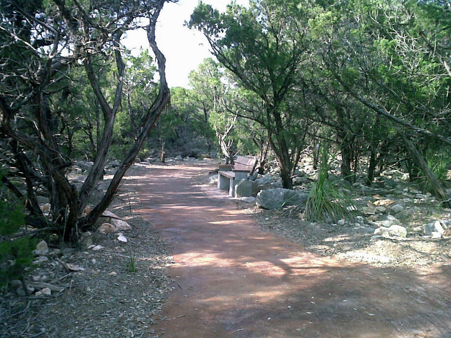 The walking trail at the Parman Branch library at 20735 Wilderness Oak opens Saturday and is the first of five exercise trails scheduled to be installed at library branches. / PHOTO COURTESY OF THE CITY OF SAN ANTONIO