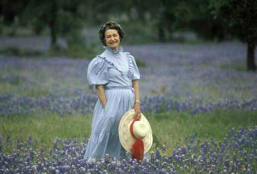 The woman who made it all possible, Lady Bird Johnson posing in the wildflowers at the LBJ Ranch in Texas. File photo from Spring 1983.  Photo by David Kennedy. Photo: Copyright Photo David Kennedy, Ho / handout