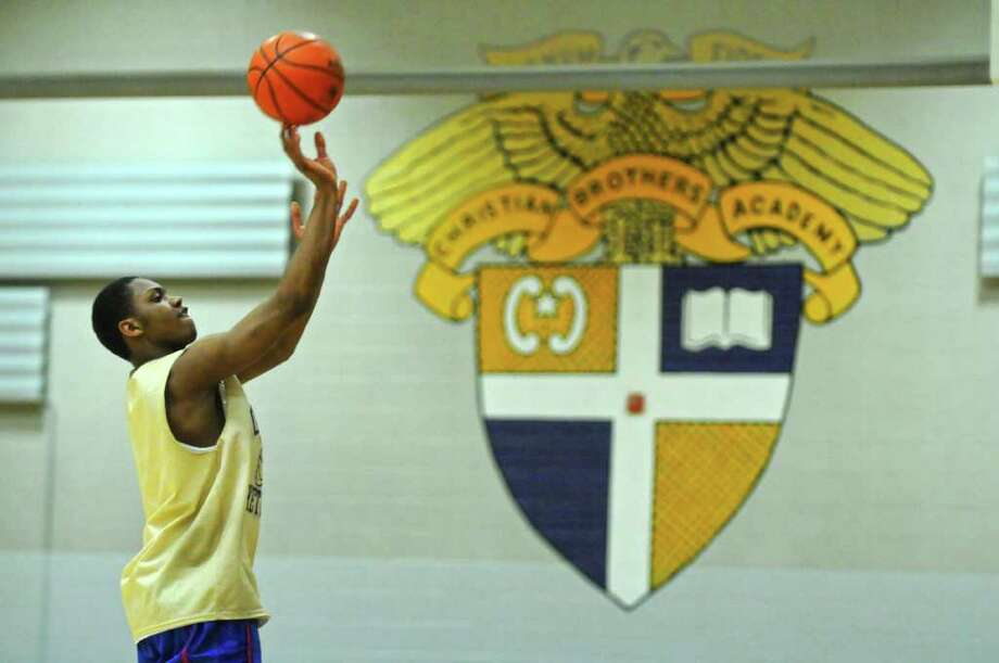 CBA player Shalal Cancer prepares for their game with Mount Vernon in the state Class AA semifinals in Glens Falls on Saturday, during practice on Thursday March 15, 2012 in Colonie, N.Y.  (Philip Kamrass / Times Union ) Photo: Philip Kamrass / 00016820A
