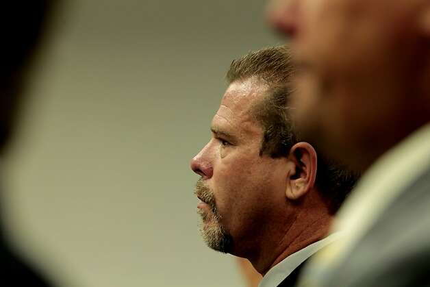 Defendant Norman Wielsch stands up before the judge with Christopher Butler, Stephen Tanabe, and Louis Lombardi to plea not guilty for law enforcement abuse of power, at the Contra Costa Superior Courthouse,Thursday June 23, 2011, in Walnut Creek, Calif. Photo: Lacy Atkins, The Chronicle