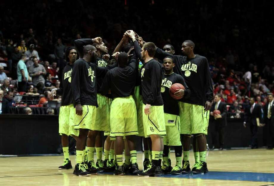 ALBUQUERQUE, NM - MARCH 15: The Baylor Bears huddle before the start of the game against the South Dakota State Jackrabbits during the second round of the 2012 NCAA Men's Basketball Tournament at The Pit on March 15, 2012 in Albuquerque, New Mexico. Photo: Christian Petersen, Getty Images / 2012 Getty Images