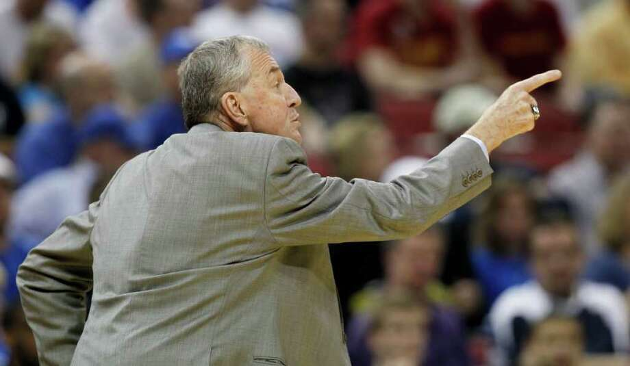 Connecticut head coach Jim Calhoun is pictured in the first half of their NCAA tournament second-round college basketball game against Iowa State in Louisville, Ky., Thursday, March 15, 2012. (AP Photo/John Bazemore) Photo: John Bazemore, Associated Press / AP