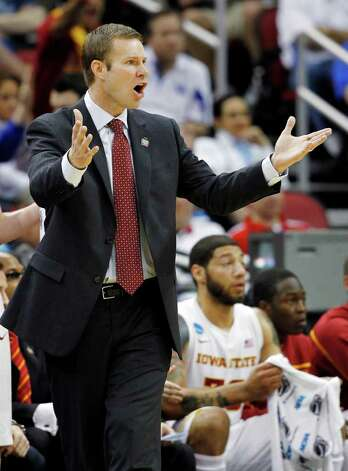 Iowa State head coach Fred Hoiberg talks with his team in the first half of their NCAA tournament second-round college basketball game against Connecticut  in Louisville, Ky., Thursday, March 15, 2012. (AP Photo/John Bazemore) Photo: John Bazemore, Associated Press / AP