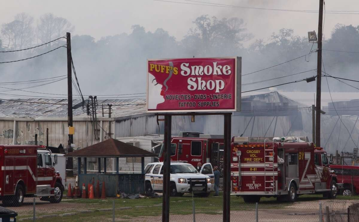 The fire was reported at the White Elephant shops along Interstate 10. (Johnny Hanson/Chronicle)