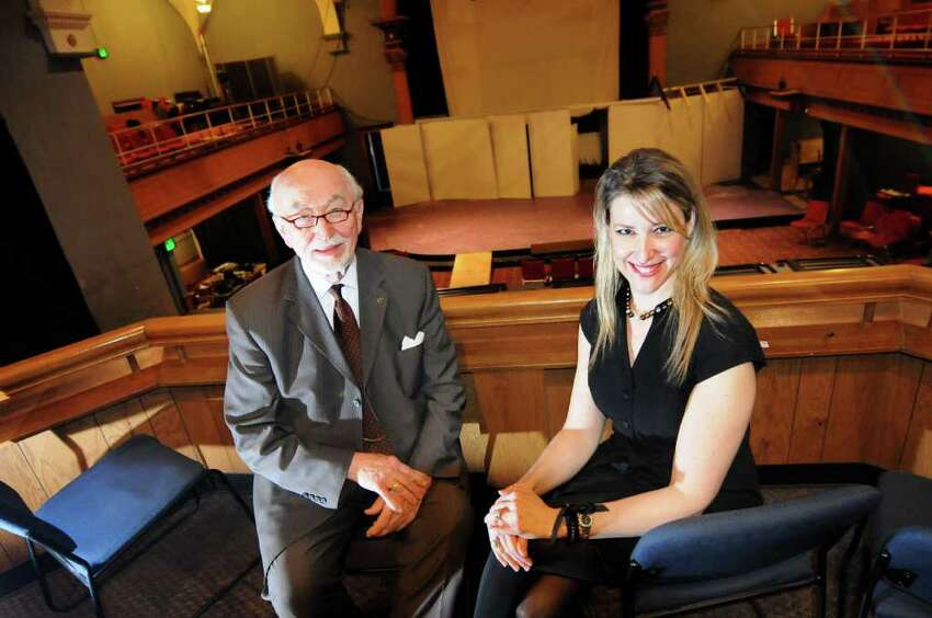 Robert Harrison, chairman of Fundraising and Development, left, and Kate Kaufman Burns, Board president, in the balcony of the main theater on Tuesday, Feb. 28, 2012, at Schenectady Light Opera Company in Schenectady, N.Y. (Cindy Schultz / Times Union)