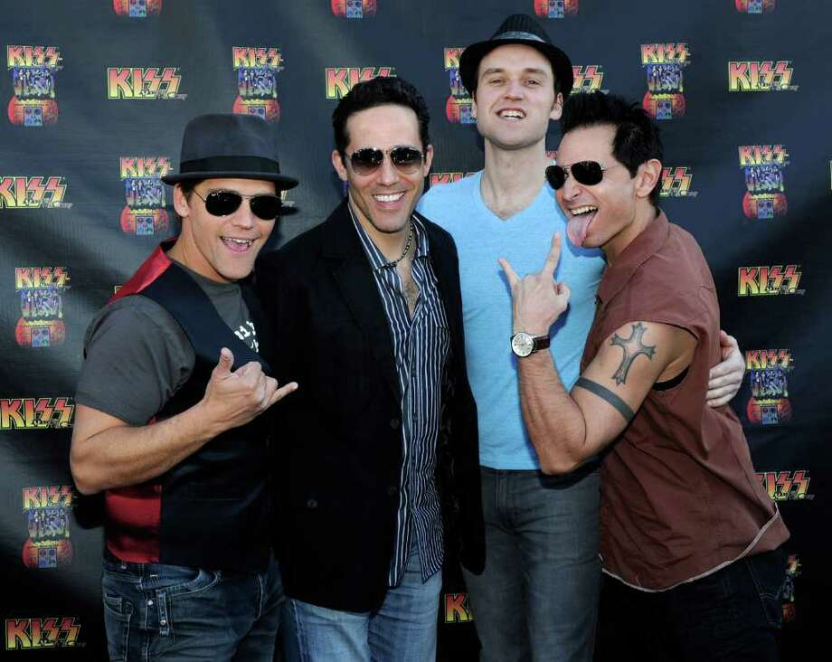 "Deven May, Jeff Leibow, Rob Marnelle and Travis Cloer of ""The Jersey Boys"" arrive at the grand opening of the KISS by Monster Mini Golf amusement attraction on March 15, 2012 in Las Vegas, Nevada. Photo: Ethan Miller, Getty Images / 2012 Getty Images"