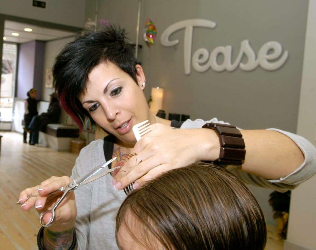 Ami Nosenzo of Bethel owner of Tease at Martin's Hair Salon on Main St. Danbury Wednesday, November 11, 2009