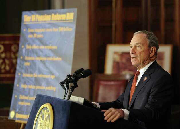 New York City Mayor Michael Bloomberg speaks before Gov. Andrew Cuomo signed the pension reform bill into law in the Red Room of the State Capitol in Albany, N.Y. March 16, 2012.   (Skip Dickstein/Times Union) Photo: Skip Dickstein / 2011