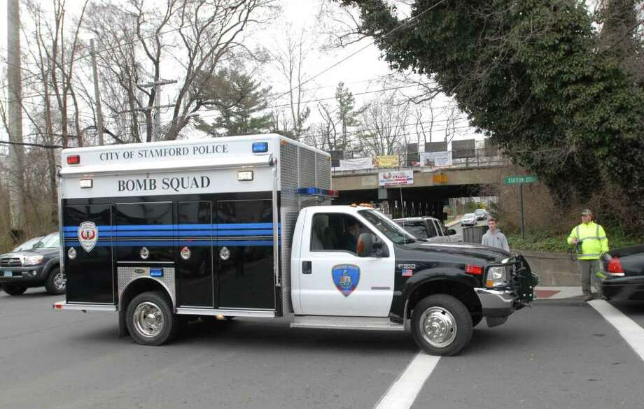 The Stamford Police bomb squad responded to Old Greenwich train station on a report of a suspicious package Friday, March 16, 2012. Photo: Bob Luckey / Greenwich Time