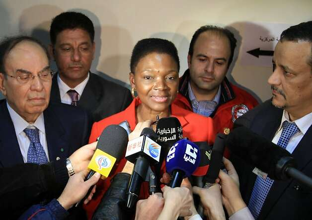 UN humanitarian chief Valerie Amos speaks to the press after touring the Syrian Red Crescent in Damascus on March 8, 2012, during her two-day visit to urge the regime to allow aid into battered protest cities. AFP PHOTO/LOUAI BESHARA (Photo credit should read LOUAI BESHARA/AFP/Getty Images) Photo: Louai Beshara, AFP/Getty Images