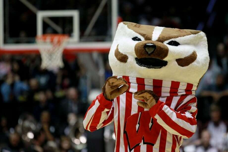 Wisconsin's 'Bucky Badger' is a college classic, and its rather flat head is oddly amusing. (Ronald Martinez / Getty Images)