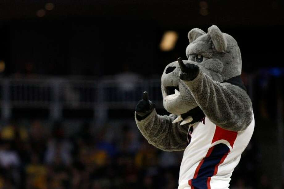 Gonzaga's bulldog is our favorite of the many variants of this mascot. Check out its huuuuge jaw. (Jared Wickerham / Getty Images)