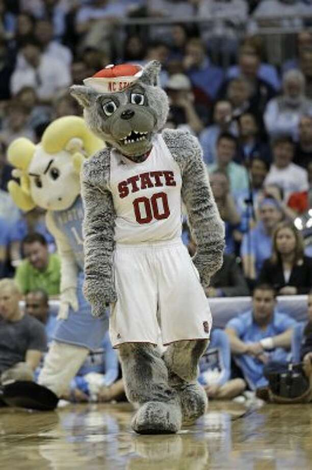Somebody get NC State's mascot some Prozac! Look at the sadness in his eyes! (Chuck Burton / Associated Press)
