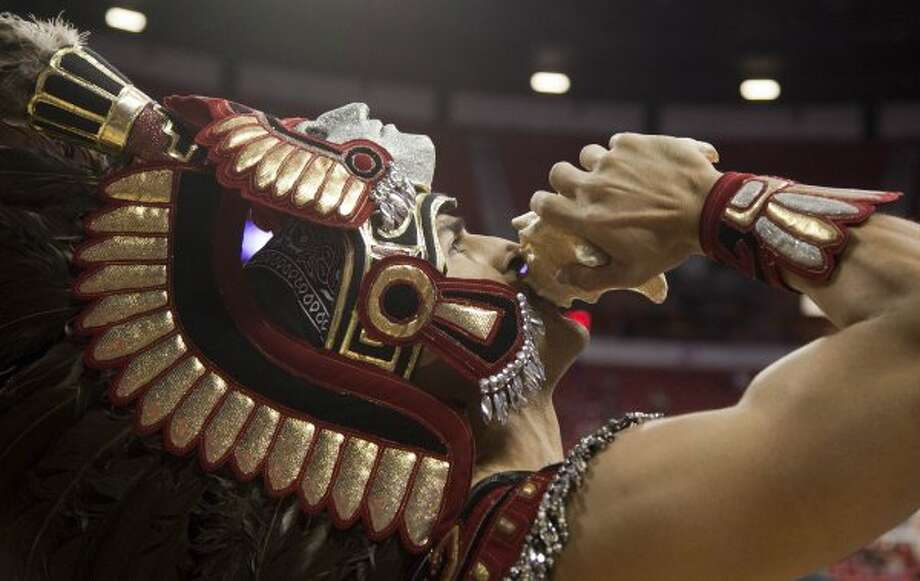 The San Diego State Aztec is one of the few indigenous people mascots that remains in America.  (Julie Jacobson / Associated Press)