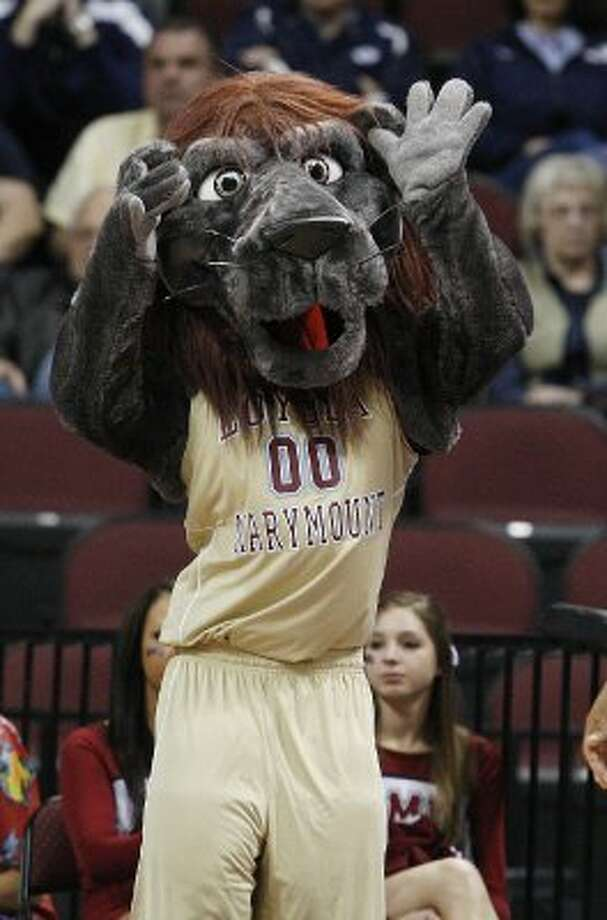 Loyola Marymount's mascot Iggy is ostensibly a lion. But it's an odd shade of grey and its mane looks more like a bad hair cut and dye job, so we're not totally convinced. (Isaac Brekken / Associated Press)