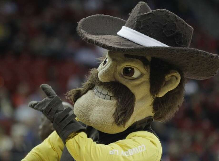 Wyoming's mascot is yet another Pistol Pete.  (Julie Jacobson / Associated Press)