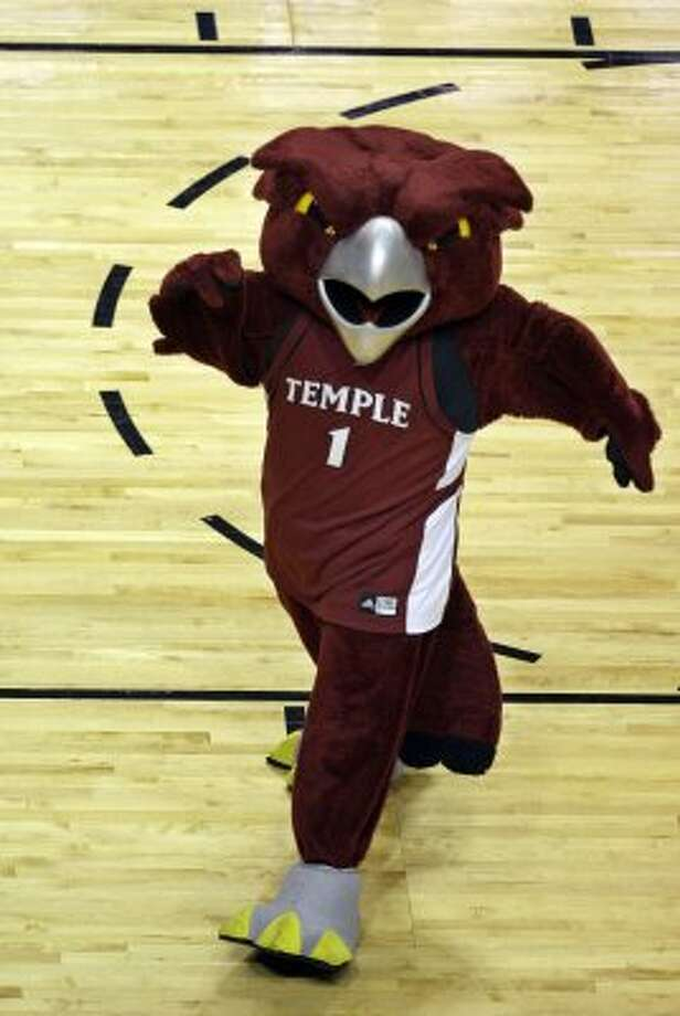 Hooter the Owl of Temple (no Hooters tie-ins that we know of) has eyes you would not want to see glaring back at you in a dark alley. (Lynne Sladky / Associated Press)
