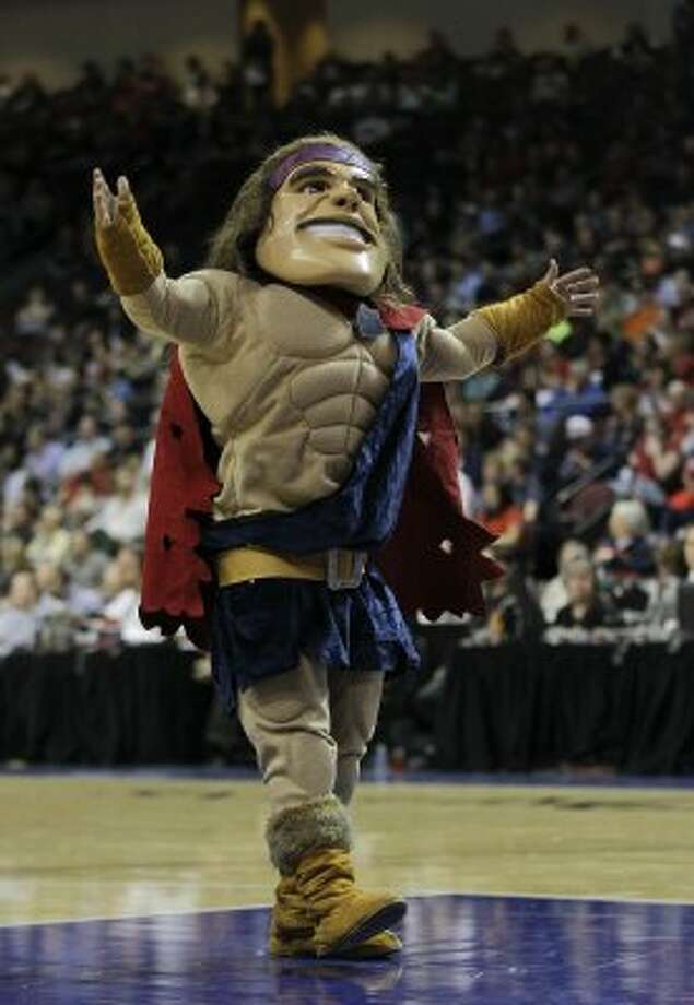 Not to hate on a local mascot, but St. Mary's Gael Force 1 is a bad conglomeration of many disparate parts. The Ugg boots aren't helping. (Julie Jacobson / Associated Press)