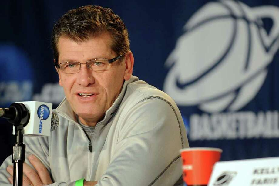 University of Connecticut coach Geno Auriemma speaks during a press conference prior to his teamâÄôs practice Friday, March 16th, 2012 at the Webster Bank Arena, in Bridgeport, Conn. Connecticut will play Prairie View A&M in the first round of the NCAA womenâÄôs basketball tournament on Saturday. Photo: Ned Gerard / Connecticut Post