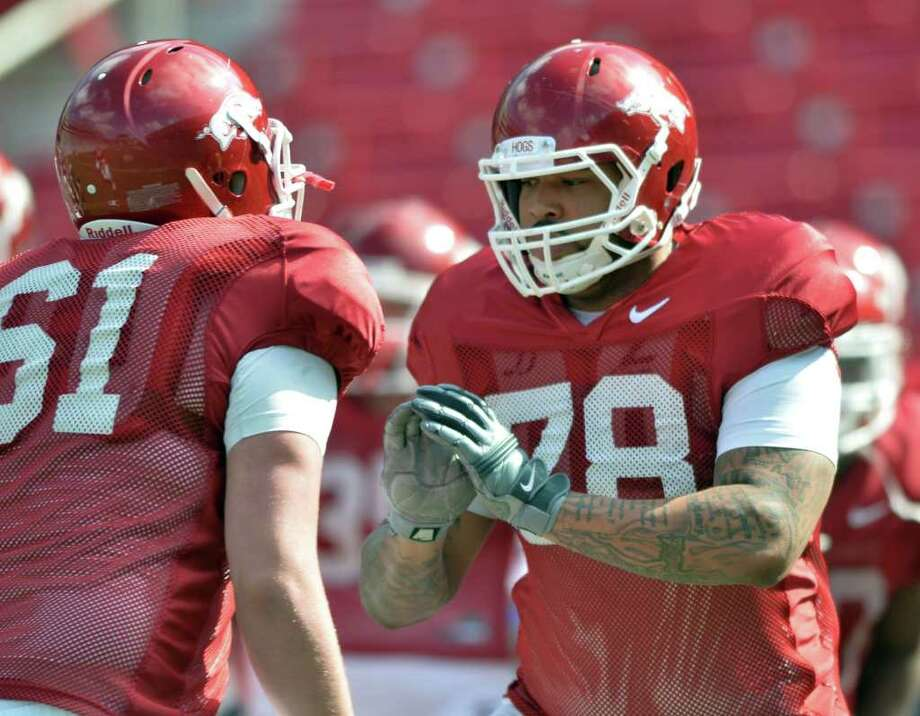 Offensive lineman Anthony Oden practices with the University of Arkansas football team in the spring. He transferred to Lamar in August after a second arrest for driving while intoxicated in the span of a year. Photo: Arkansas Democrat-Gazette / Arkansas Democrat-Gazette