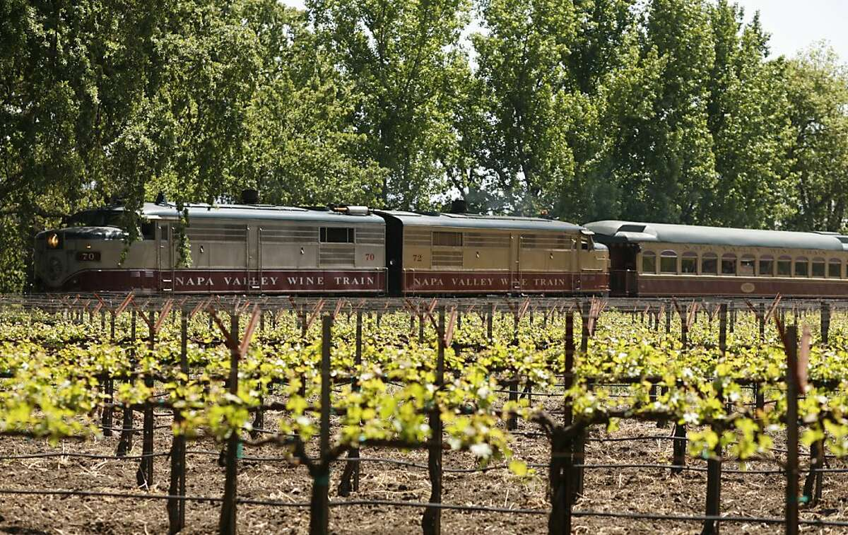 Mike Grgich, owner and winemaker of Grgich Hills Cellar likes to meet the Wine Train when it arrives, usually at 1 p.m. Photo of the Wine Train on its way to stop at the winery.
