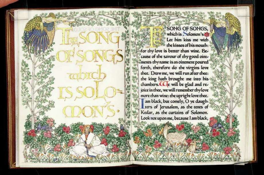 """Song of Songs which is Solomon's"" (Chelsea: Ashendene Press, 1902) was published in an edition of only 40 copies, all printed on vellum  and each uniquely illuminated by Florence Kingsford.  / courtesy of Harry Ransom Center"