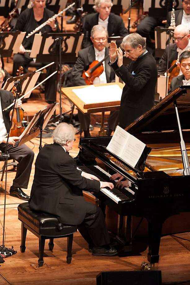 "Pianist Emanuel Ax, with Michael Tilson Thomas conducting the San Francisco Symphony, in Morton Feldman's ""Piano and Orchestra"" 3/15/12 Photo: Kristen Loken"