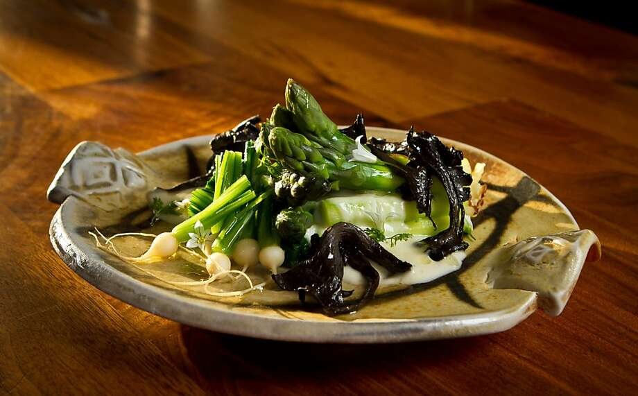 Asparagus with black trumpet mushrooms in a creamy sauce, a blend of smooth and sharp elements. Photo: John Storey, Special To The Chronicle
