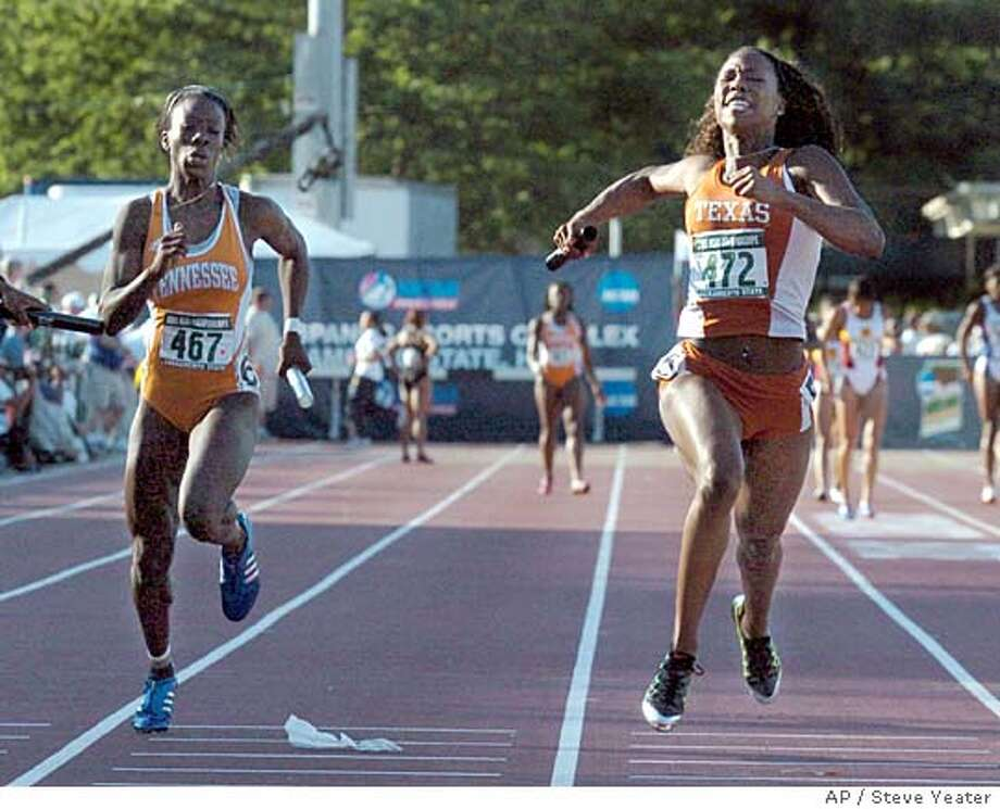 Texas' Marshevet Hooker, right, crosses the finish line to win the wonem's 4x100 meter relay for Texas at the and Field Championships in Sacramento, Calif., Friday, June 10, 2005. At the left is Tennessee's Cleo Tyson.(AP Photo/Steve Yeater) Photo: STEVE YEATER