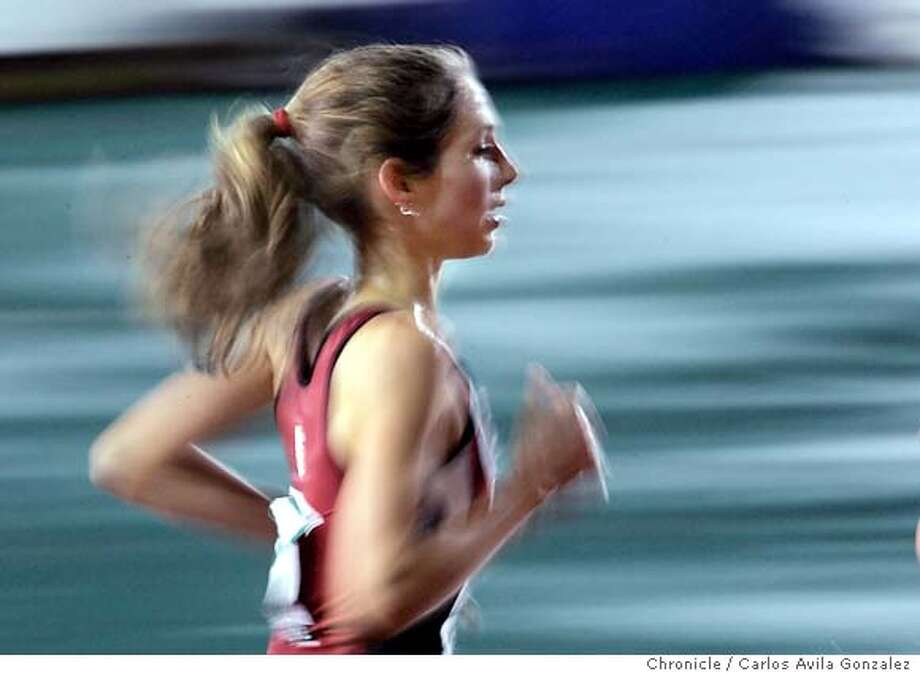Stanford University's Sarah Bei competes in the womens' 5000 meters during the NCAA Track and Field Finals in Sacramento, Ca., on Wednesday, June 8, 2005.  Photo by Carlos Avila Gonzalez / The San Francisco Chronicle  Photo taken on 6/8/05, in Sacramento,CA. Photo: Carlos Avila Gonzalez
