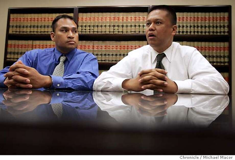 """Two of the three, Jude Siapno, left and Clarence """"Chuck"""" Mabanag. The three Oakland police officers at the center of what prosecutors called a rogue squad of cops who framed and beat suspects speak publicly for the first time about the case and how it changed their lives (Prosecutors decided not to seek a third trial after two previous mistrials with deadlocked juries) over the past five years. The trio has been publicly vilified by city officials and many Bay Area residents. 6/10/05 Pleasant Hill, Ca Michael Macor / San Francisco Chronicle Photo: Michael Macor"""