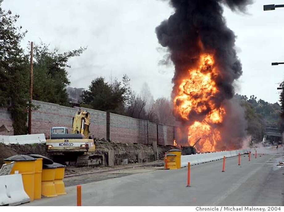 Scene of the explosion.  A gas line explodes killing two members of a work crew as they were working on a construction project on South Broadway near Los Lomas High School.  Photo by Michael Maloney / San Francisco Chronicle Photo: Michael Maloney