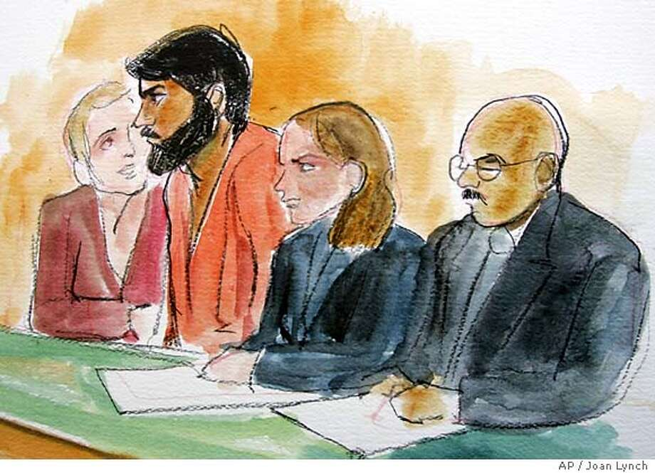 Artist drawing of terror suspect Hamid Hayat, second from left, sits with with unidentified translator, far left, attorney Wazhma Mojaddidi, second from right, and attorney Johnny Griffin, right, in a federal court in Sacramento, Calif., Friday, June 10, 2005. The 22-year-old was arrested this week as part of a terror investigation in Lodi, Calif. (AP Photo/Joan Lynch) Photo: JOAN LYNCH