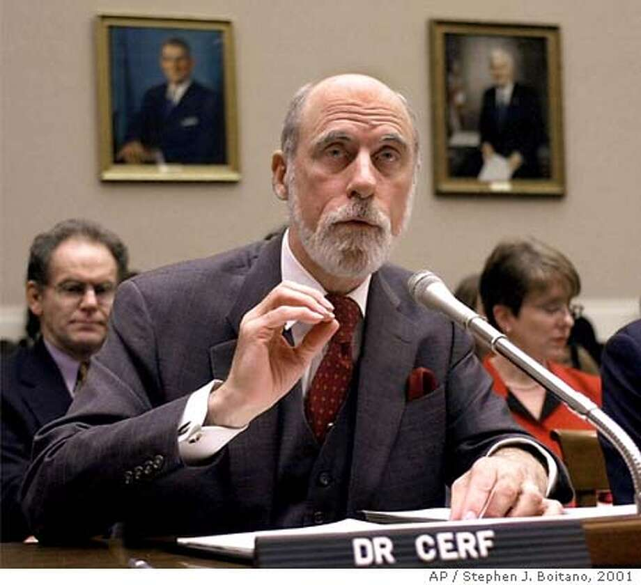 Vinton Cerf, chairman of the Internet Corporation for Assigned Names and Numbers (ICANN) , testifies on Capitol Hill Thursday, Feb. 8, 2001, before the House subcommittee on Telecommunications and the Internet hearing: Is ICANN's new generation of Internet domain name selection process thwarting competition. (AP Photo/Stephen J. Boitano) Photo: STEPHEN J. BOITANO