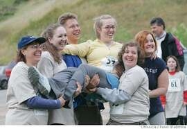 PARLETTE_113_PG.JPG Alicia's celebrates with friends she met in Reno before race.  Sarcoma Alliance's run/walk in Tennessee Valley. The San Francisco Chronicle, Penni Gladstone  Photo taken on 5/28/05, in Mill Valley,