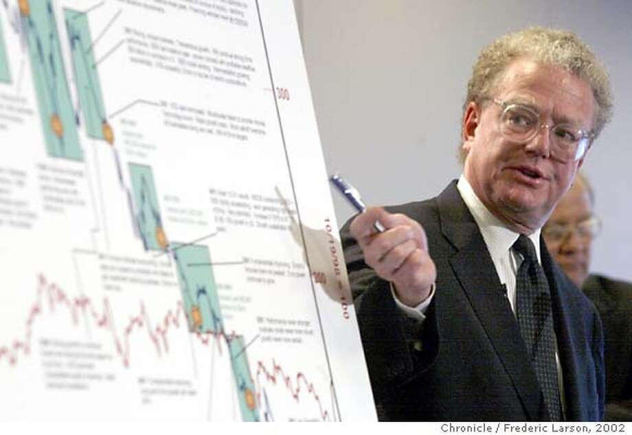 Lead attorney William S. Lerach talks about the University of California lawsuit against Enron in San Francisco, Monday, April 8, 2002. The 500-page complaint, filed on behalf of large investors and led by the University of California, said the banks and law firms raked in massive fees while financing and approving sham deals that hid debt and inflated profits. (AP Photo/San Francisco Chronicle, Frederic Larson) Photo: FREDERIC LARSON