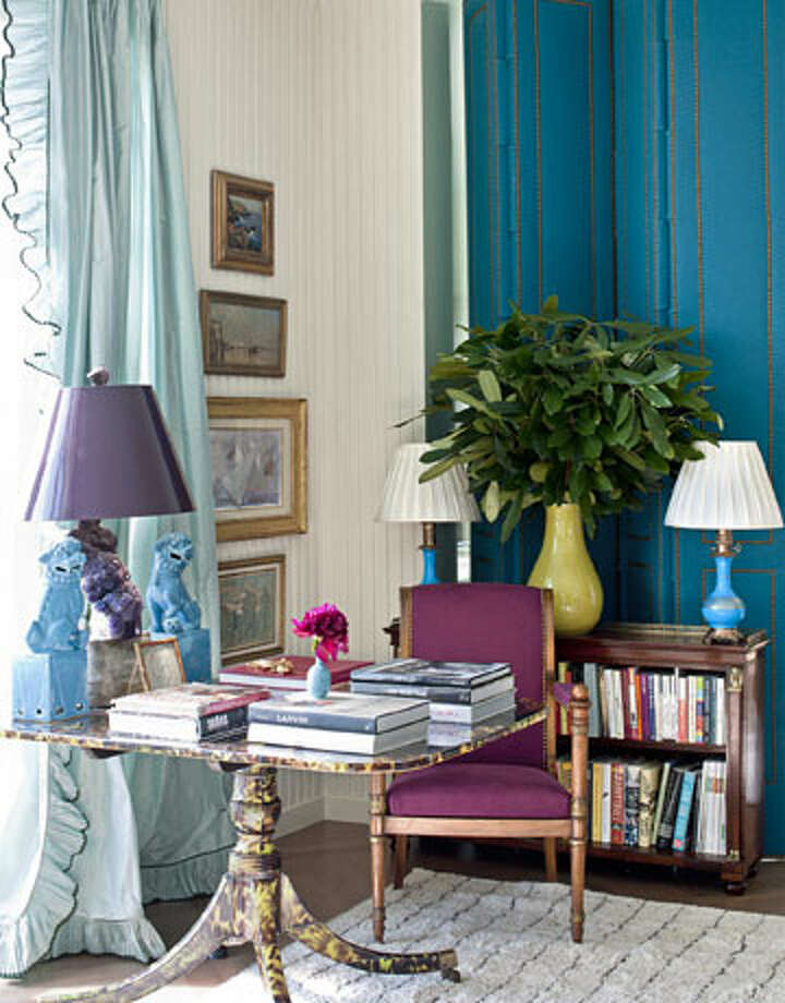 """Bold Color Going bold with color isn't about splashing color against color for color's sake. The new American way has the dynamic sensibility of an artist twisting a kaleidoscope, turning a collision of colors into a tour de force. """"Color makes more traditional pieces look fresh,"""" says designer Miles Redd, who pulled together this vibrant look for the living room of a Manhattan apartment. """"When you take a staid piece of furniture and put an unusual finish on it that's brash yet sophisticated, it feels modern and American.""""  Reprinted with Permission of Hearst Communications, Inc. Originally Published: 5 Top Trends in American Decorating James Merrell"""