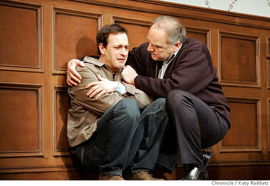 """NUMBER05_074_RAD.JPG ACT Production on """"A Number,"""" an intense two-person play about cloning. SHOWN: Bill Smitrovich as the father (older man, grey hair,R), and Josh Charles, who plays several different clones of Smitrovich's son Photo taken on 4/27/06, in San Francisco, CA.  By Katy Raddatz}/The San Francisco Chronicle  Ran on: 05-05-2006  Josh Charles (left) plays several clones, all sons of a man played by Bill Smitrovich.  Ran on: 12-31-2006  Josh Charles and Bill Smitrovich in &quo;A Number&quo;: stunningly thought-provoking. Photo: Katy Raddatz"""