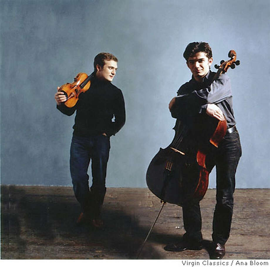 Renaud Capu�on, violin & Gautier Capu�on, cello. San Francisco Performances is presenting violinist Renaud Capu�on & cellist Gautier Capu�on Tuesday, January 31 at 8:00 p.m. at Herbst Theatre. Ran on: 02-02-2006  Renaud Capu�on (left) and Gautier Capu�on play fearlessly.  Ran on: 12-31-2006  Violinist Renaud Capu�on and cellist Gautier Capu�on: incendiary. Photo: Ana Bloom