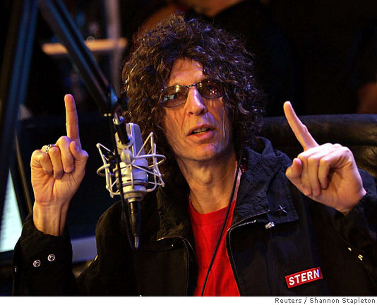 """Howard Stern speaks during a news conference at the live debut broadcast of his show on Sirius Satellite Radio in New York January 9, 2006. The U.S. radio """"shock jock"""" made his debut on unregulated satellite radio on Monday after years of government fines for indecency. REUTERS/Shannon Stapleton Ran on: 01-12-2006 Howard Stern, who started broadcasting on Sirius Satellite Radio this week, is now eligible to receive about $200 million in stock. Ran on: 12-31-2006 Melanie Morgan: No pal to New York Times Bill Keller."""