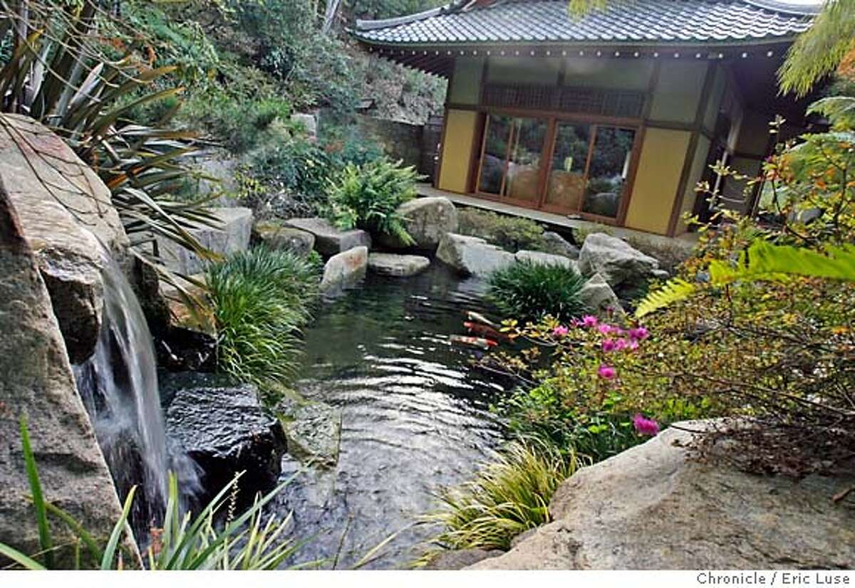 stonemason_792_el.JPG From atop the waterfall looking towards the home. Stone Mason George Gonzales designed this yard with strong Japanese qualities including a large pond and dry stream. Photographer: Eric Luse / The Chronicle names cq from source MANDATORY CREDIT FOR PHOTOG AND SF CHRONICLE/ -MAGS OUT