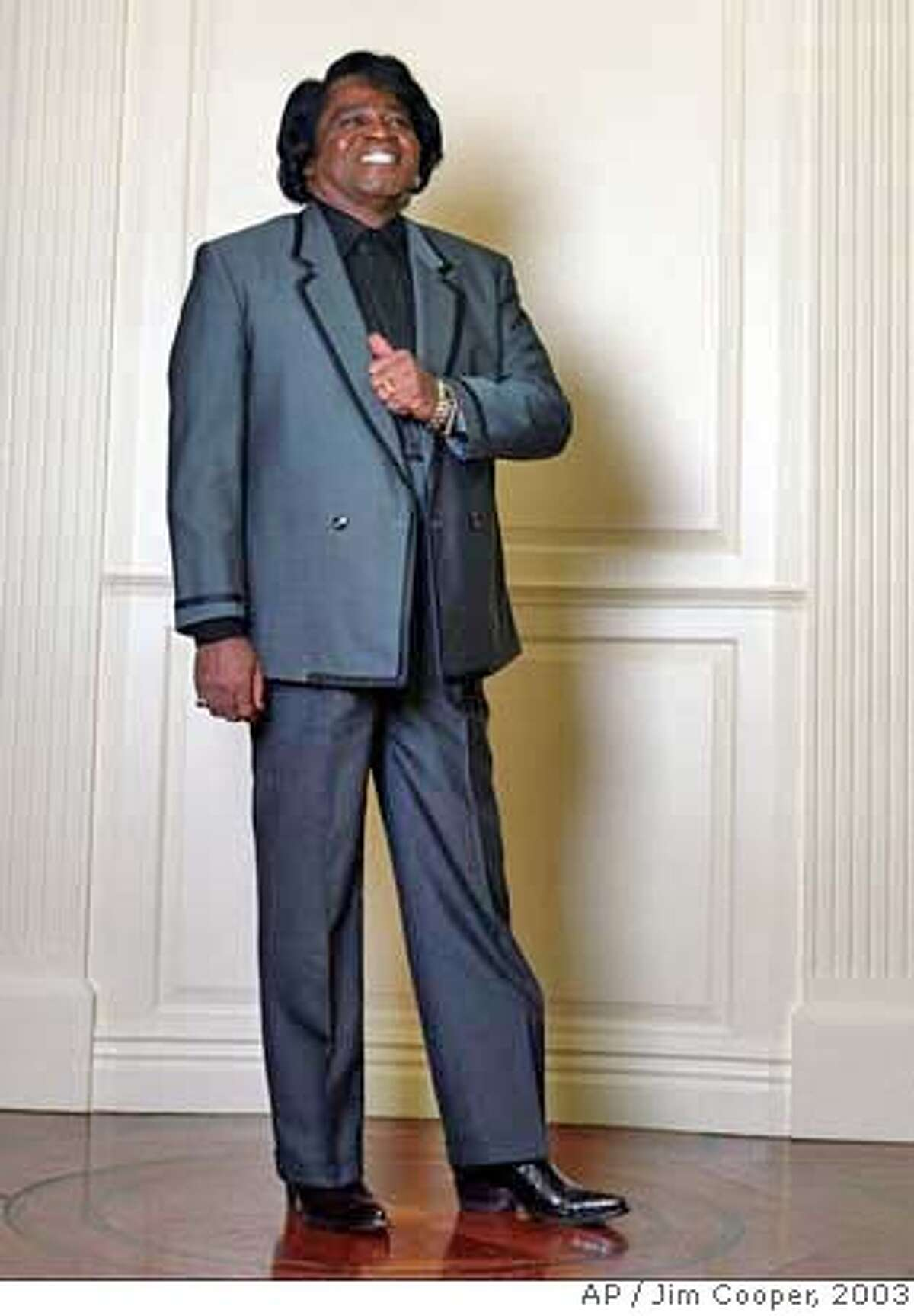 ** FILE ** Singer James Brown poses for a photograph in New York, Jan. 30, 2003. The dynamic