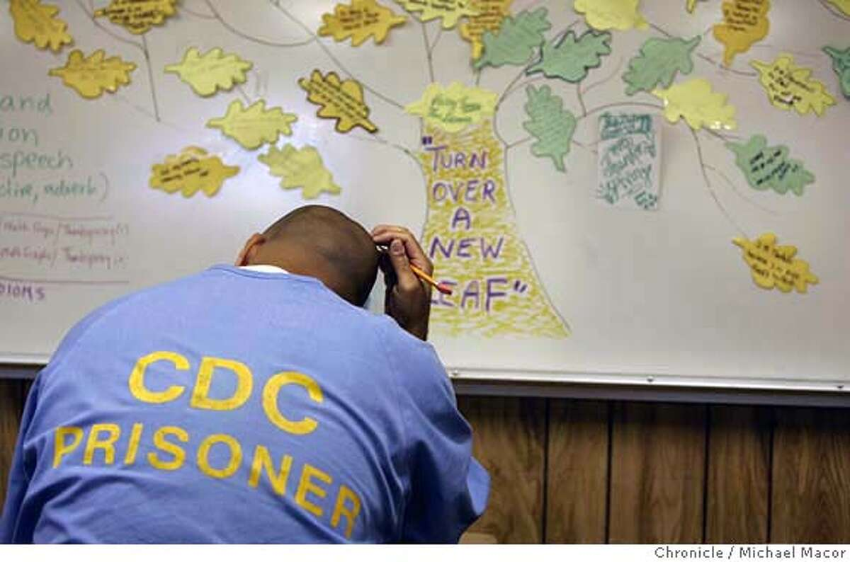 prisoneducation_111_mac.jpg Inmate Paul Rodriguez, 39 enrolled in a AB-1 class, (adult basic Education), works on his daily assignments. CRC-California Rehabilitation Center in Norco, Ca. Nearly everyone agrees that the best way to address the overcrowding in California's prisons is to reduce the soaring recidivism rate, and that one of the best ways to get the rate down is to arm the more than 100,00 inmates who are functionally illiterate with a solid education. Educations programs in the prisons are badly underfunded and serve few of the inmates needing help. Too few classrooms,long waiting lists for getting into remedial programs. Event in, Norco, Ca, on 12/20/06. Photo by: Michael Macor/ San Francisco Chronicle Mandatory credit for Photographer and San Francisco Chronicle / Magazines Out