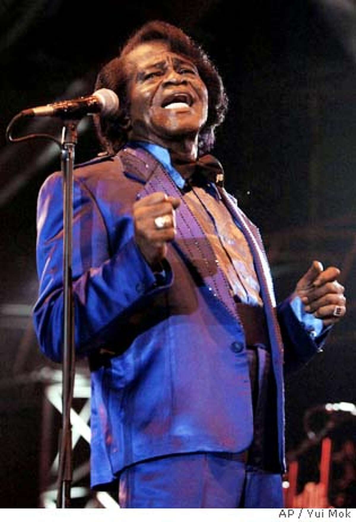 U.S. singer James Brown in concert at the Tower of London, central London. Tuesday July 4, 2006. (AP Photo/Yui Mok, PA) ** UNITED KINGDOM OUT NO ARCHIVE **