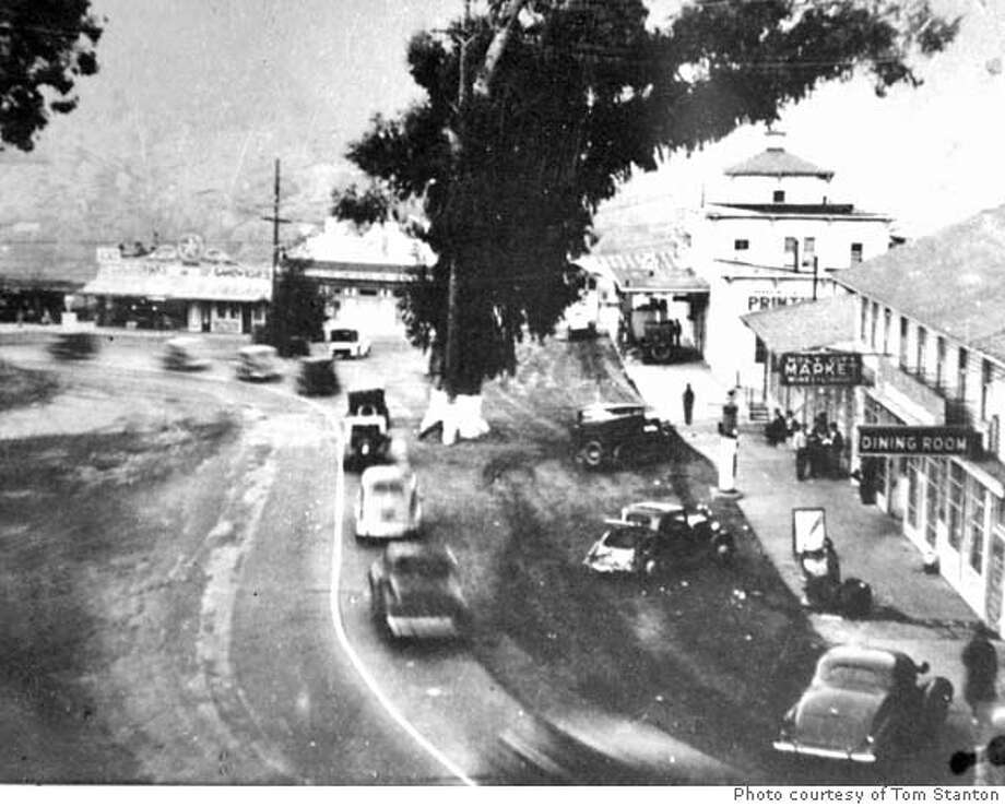 An old photo of cars streaming past Holy City. Date photo was taken is unknown. Photo courtesy of Tom Stanton.  Holy City, once a commune and tourist trap is now just a bend in the road - the Old Santa Cruz Highway in the Santa Cruz mountains near Los Gatos. The commune was founded in 1919 by a white-supremacist scam artist William E. Riker along what was once the main route between San Jose and Santa Cruz. The place had its heyday in the 1930s and '40s and has been in disrepair for decades. It is now for sale, MANDATORY CREDIT FOR PHOTOG AND SF CHRONICLE/ -MAGS OUT Photo: Michael Maloney