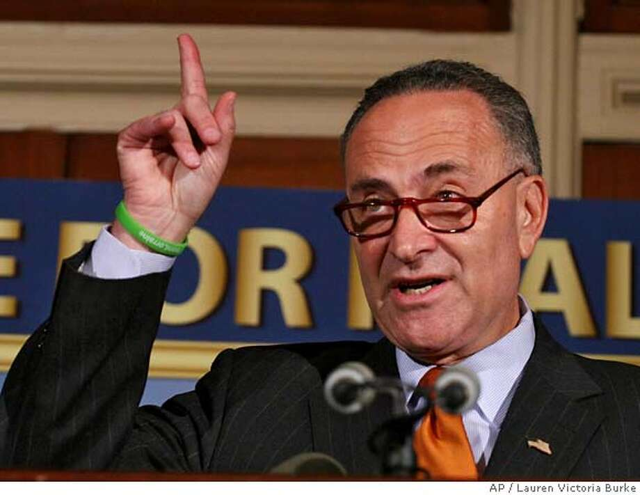 Sen. Charles Schumer, D-N.Y., gestures during a news conference on Capitol Hill in Washington, Tuesday, Sept. 12, 2006 to discuss his amendment to the Port Security Improvement Act. (AP Photo/Lauren Victoria Burke) Ran on: 09-15-2006  Sen. Charles Schumer says a trial run of the new system could be too late to prevent massive explosions at U.S. ports or harbors. Photo: LAUREN VICTORIA BURKE