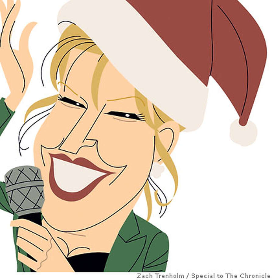 Got a Christmas CD? Bette Midler (shown), Bing Crosby, Brian Setzer, Jessica Simpson and Paul McCartney do. Illustration by Zach Trenholm, special to the Chronicle