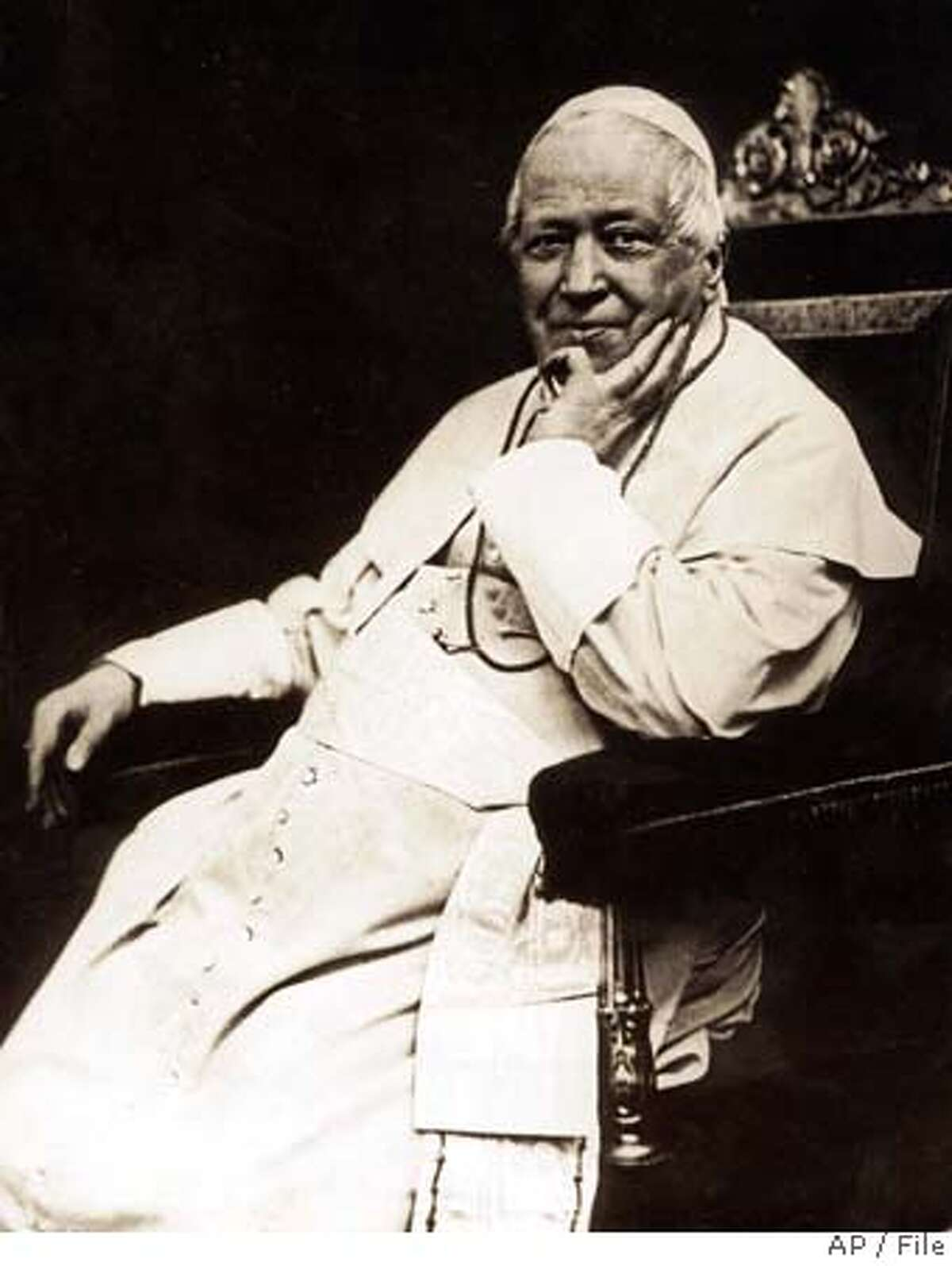 FILE - An undated photo of Pope Pius IX. Pope Giovanni Mastai Ferretti, who reigned from 1846 to 1878 in an history longest papacy will be beatified in a twin ceremony at the Vatican September 3, 2000, with 1958-63 Pope John XXIII. (AP Photo) UNDATED B/W FILER