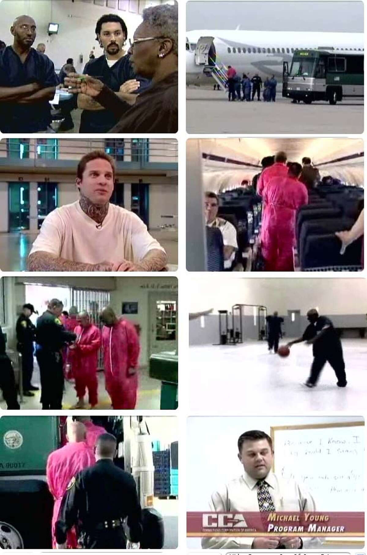 These images taken from video show inmates and officials appearing in a promotional DVD presented to California prisoners. Images courtesy of CBS5.com