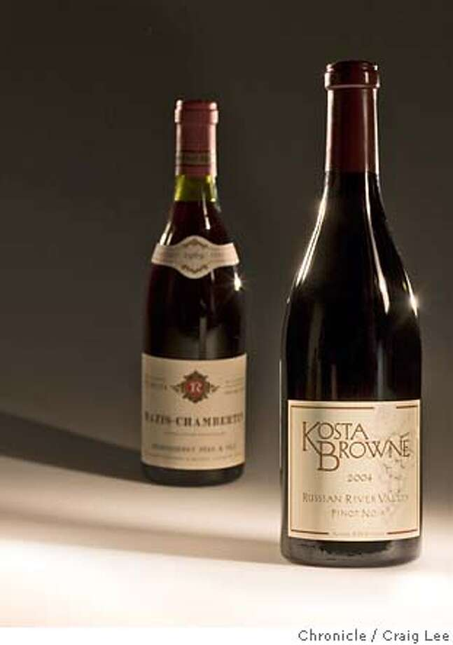 PINOT22_bottles146_cl.CR2  Photo of 2004 Kosta Browne Russian River Valley Pinot Noir (right) and 1969 Mavis_Chambertin (left).  Event on 12/15/06 in San Francisco. photo by Craig Lee / The Chronicle MANDATORY CREDIT FOR PHOTOG AND SF CHRONICLE/ -MAGS OUT Photo: Photo By Craig Lee